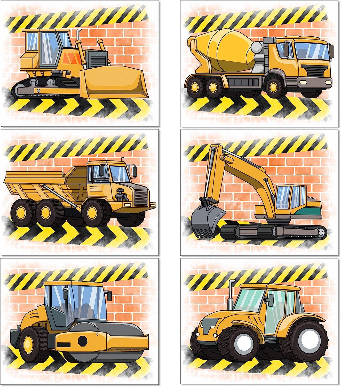 Amazon Com Construction Truck Poster Vehicle Wall Art 8x10 Prints Unframed Boys Game Room Decor Playroom Rec Room Poster Vehicle Prints Art Set Construction 1 Posters Prints