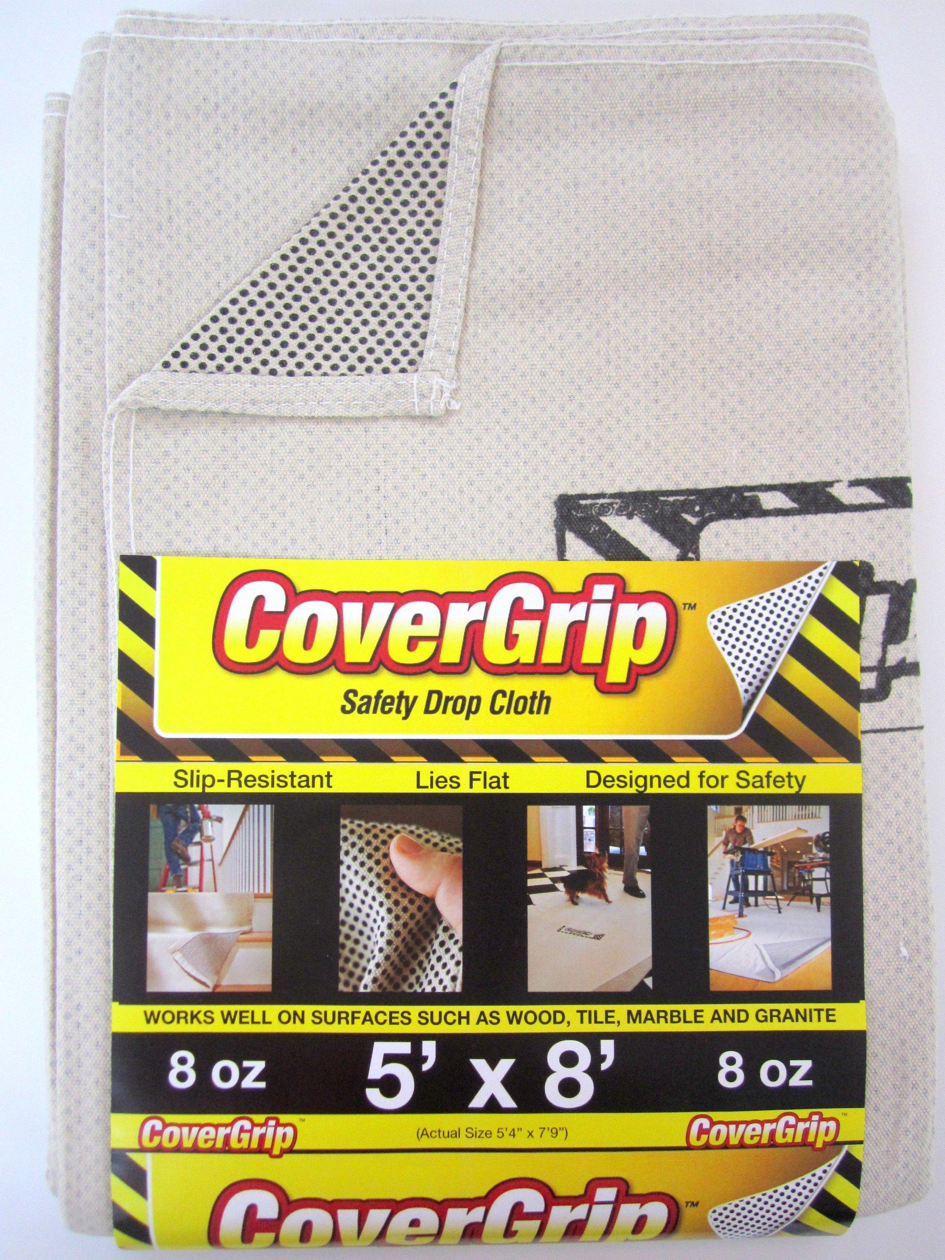 CoverGrip 005808 8oz 5'x8' 8 oz Canvas Safety Drop Cloth, 5' x 8', Off Off White