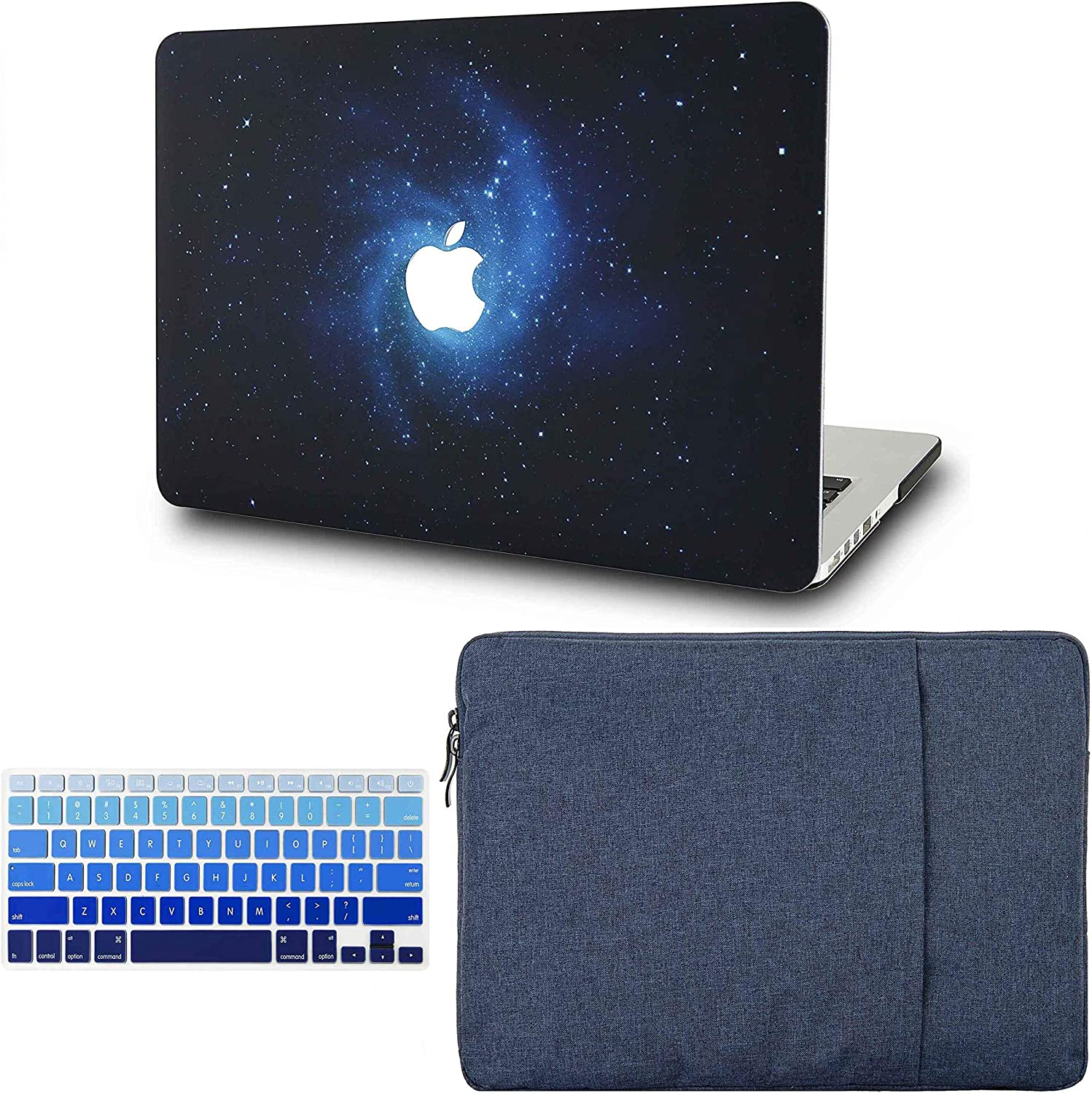 "KECC Laptop Case for MacBook Air 13"" w/Keyboard Cover + Sleeve Plastic Hard Shell Case A1466/A1369 3 in 1 Bundle (Blue)"