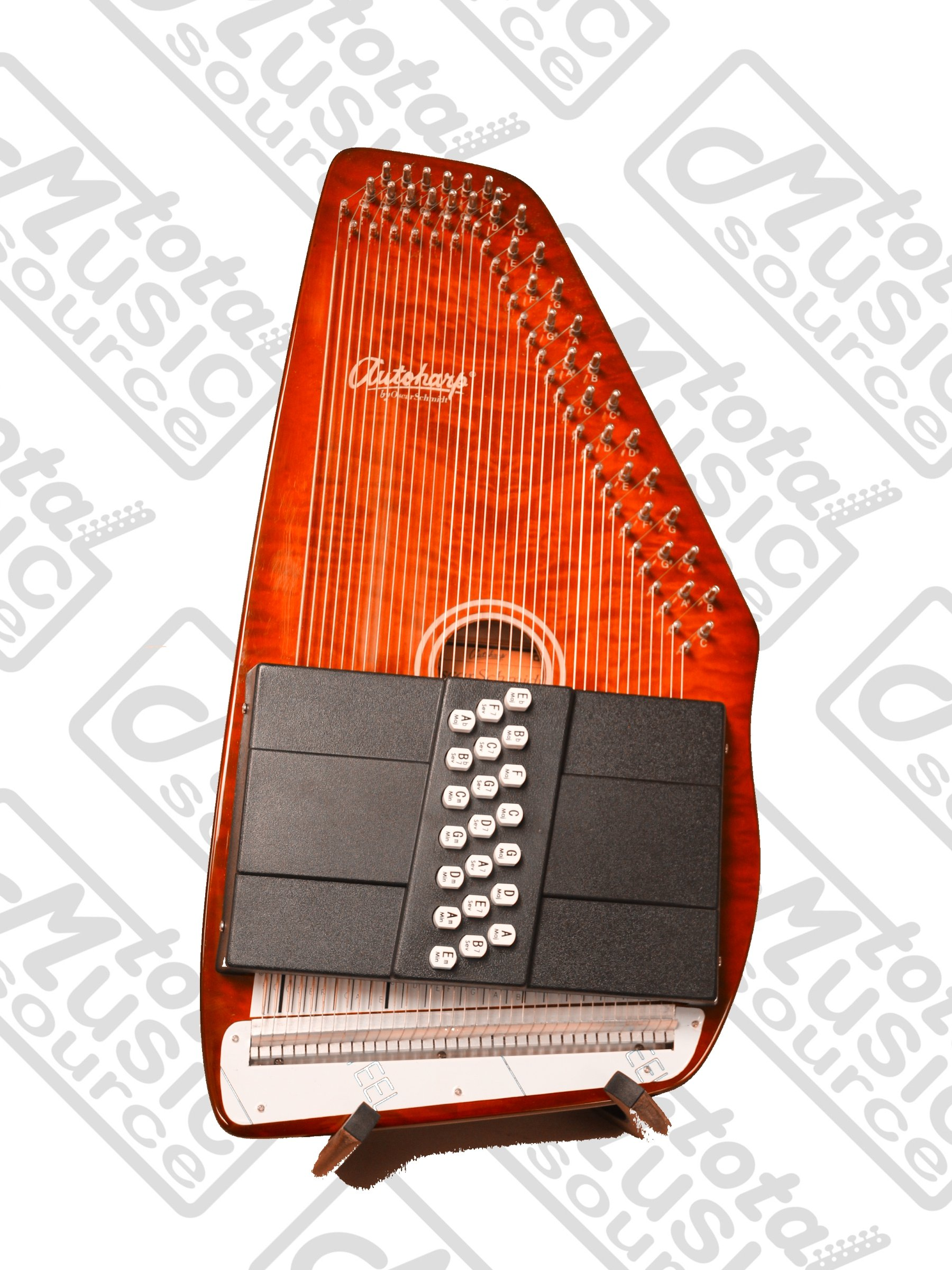 Oscar Schmidt 21 Chord Classic Autoharp, Quilted Maple Top, Trans Red, OS12CQTR by Oscar Schmidt (Image #2)