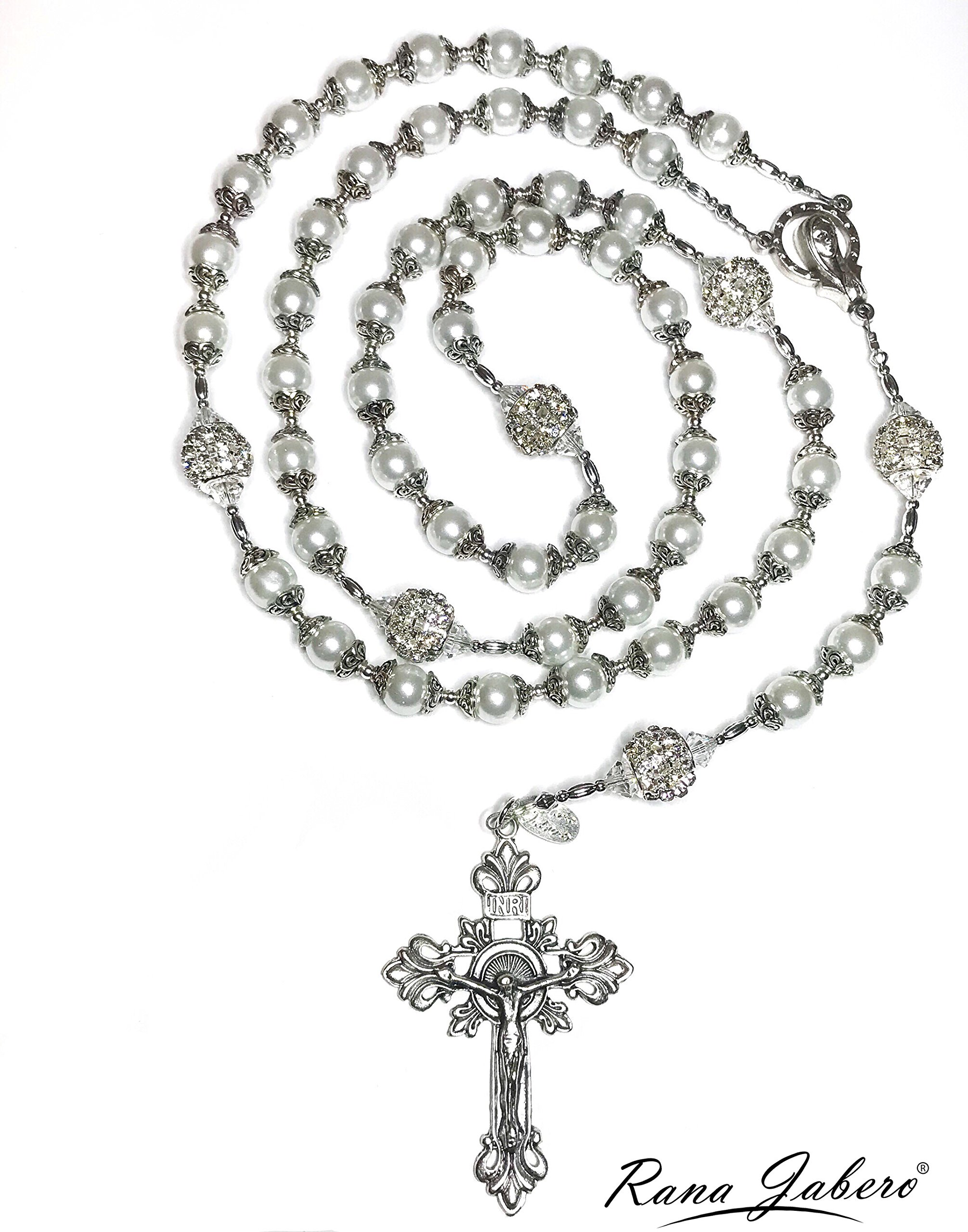 Rana Jabero Capped Glass Pearl Beaded Wedding Bridal Gift Cross Prayer Rosary