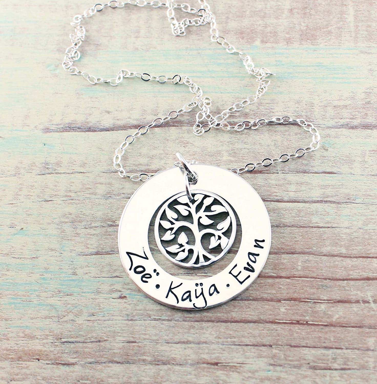 Family Names Necklace Mommy Necklace Personalized Mother Necklace Stamped Evermore Kids Names Necklace Grandmother Necklace