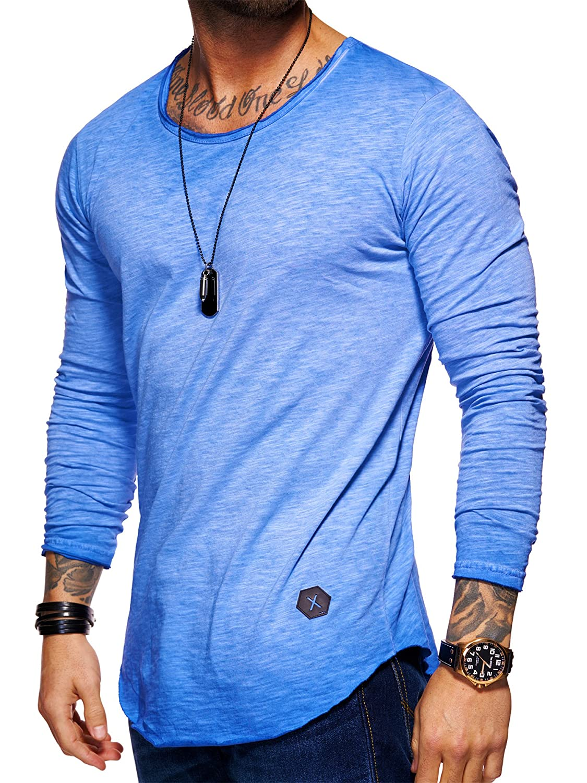 Behype Herren Oversize Basic Longsleeve O-Neck T-Shirt 30-3751