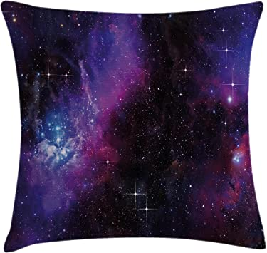 Ambesonne Space Throw Pillow Cushion Cover, Nebula Dark Galaxy with Luminous Stars and Cosmic Rays Astronomy Explore Theme, Decorative Square Accent ...