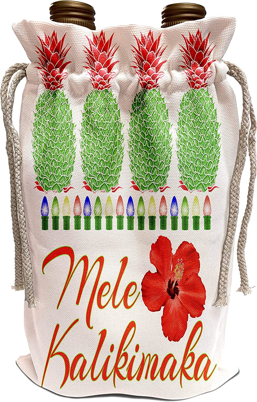 3dRose MacDonald Creative Studios – Mele Kalikimaka - Holiday colored pineapples and Hawaiian Mele Kalikimaka for Christmas - Wine Bag (wbg_300932_1)