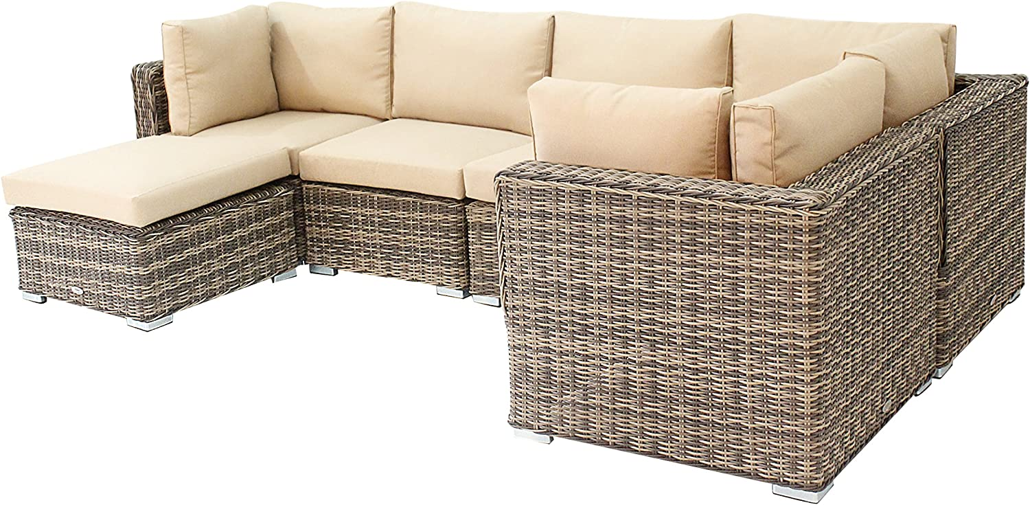 husen Outdoor Furniture Patio Rattan Sofa 6 Piece Sectional Table Chair Wicker (Tan kahaki)