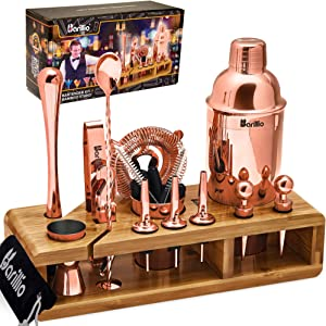 Copper 23-Piece Bartender Kit Cocktail Shaker Set by BARILLIO: Stainless Steel Rose Gold Bar Tools With Sleek Bamboo Stand, Velvet Carry Bag & Recipes Booklet