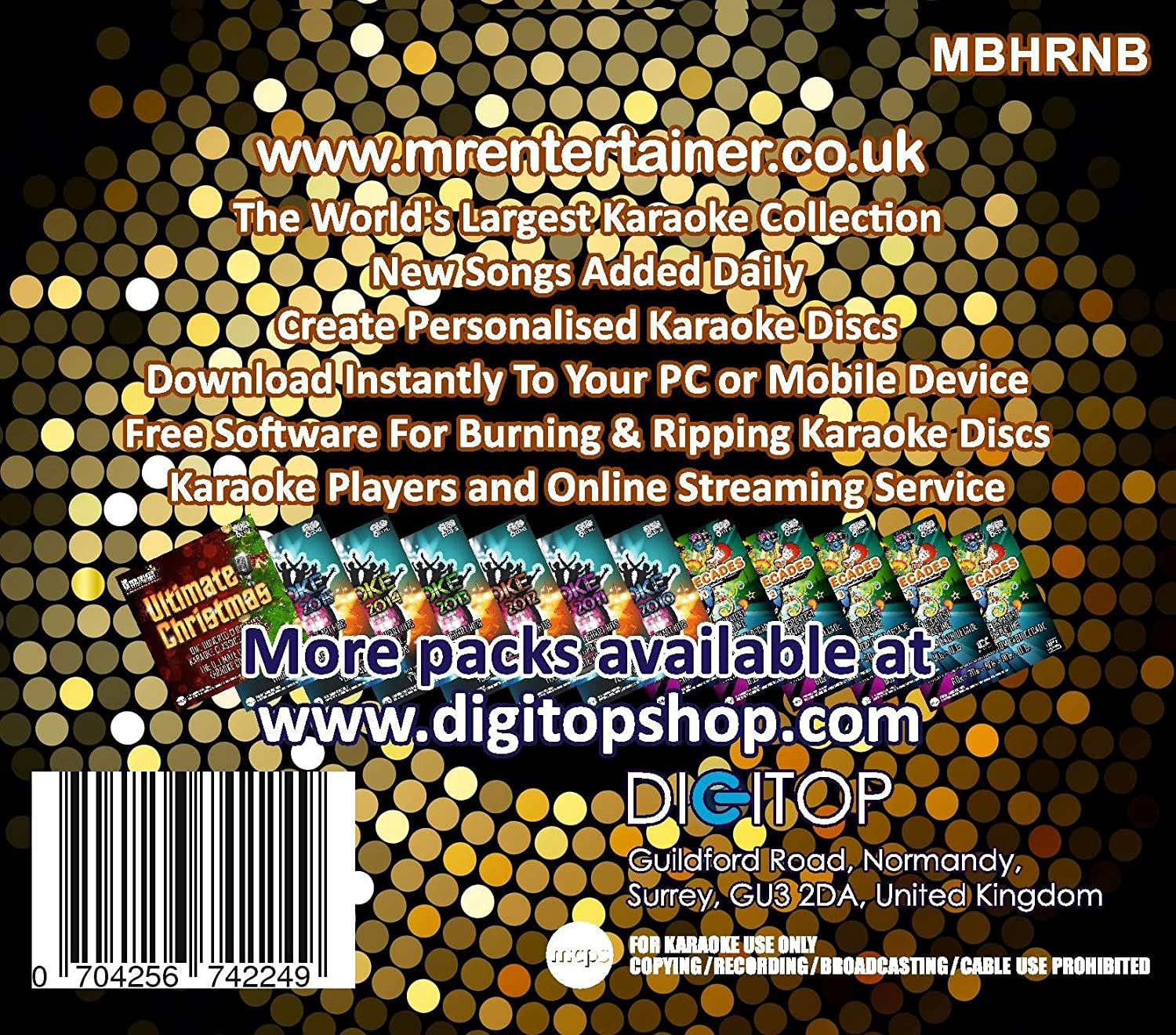 Mr Entertainer Big Karaoke Hits of R&B - Double CD+G (CDG) Pack  40 Top  Songs