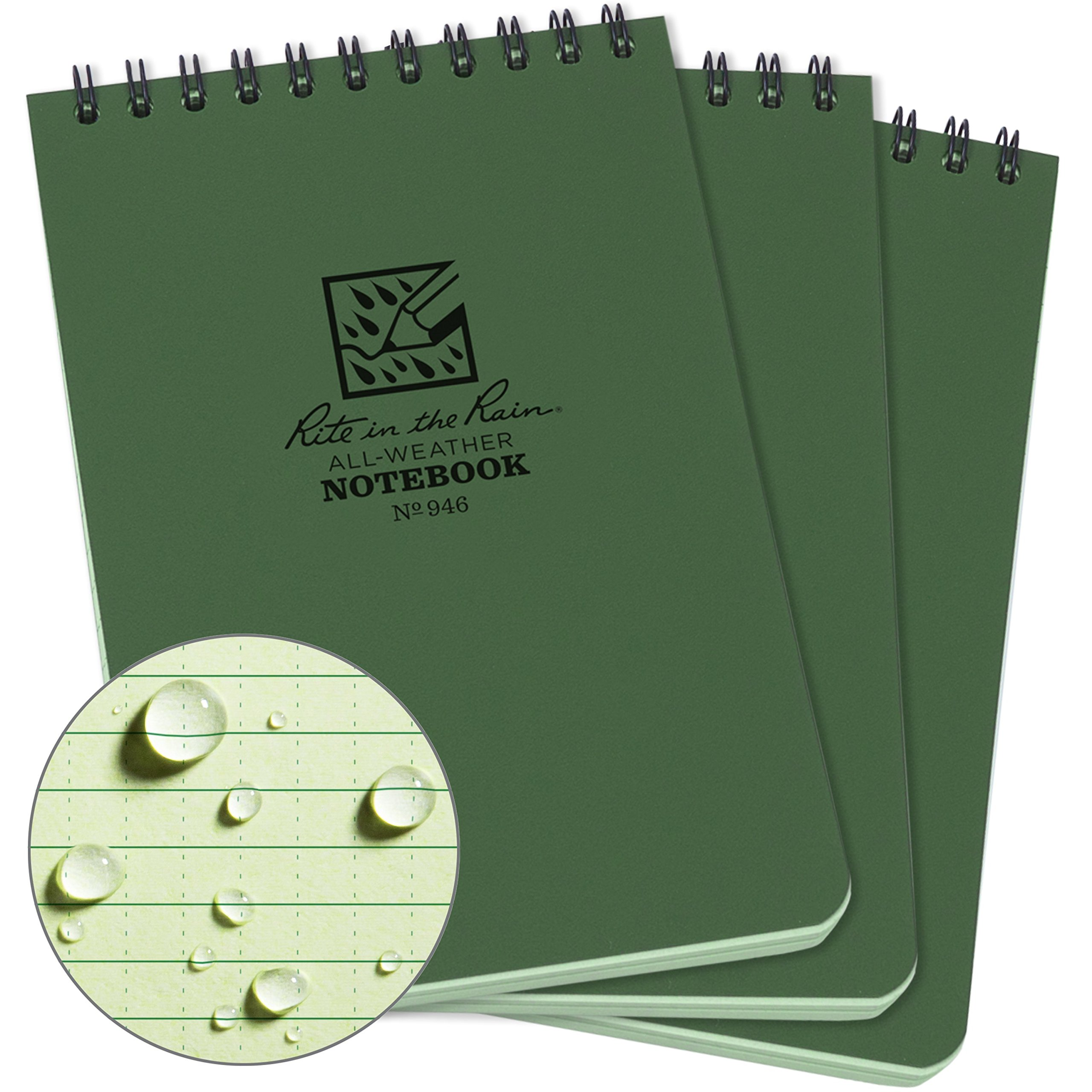 Rite in the Rain Weatherproof Top-Spiral Notebook, 4'' x 6'', Green Cover, Universal Pattern, 3 Pack (No. 946-3)