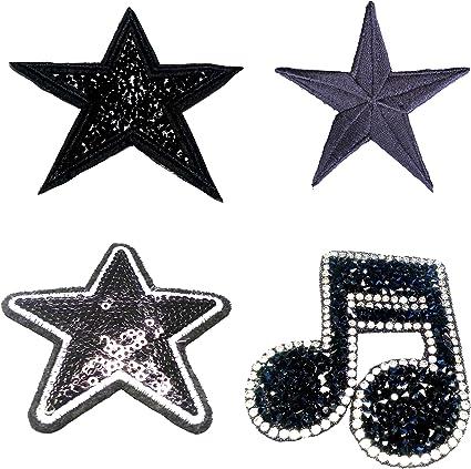b2see - Parches para Coser (4 Unidades), diseño de Estrellas con ...