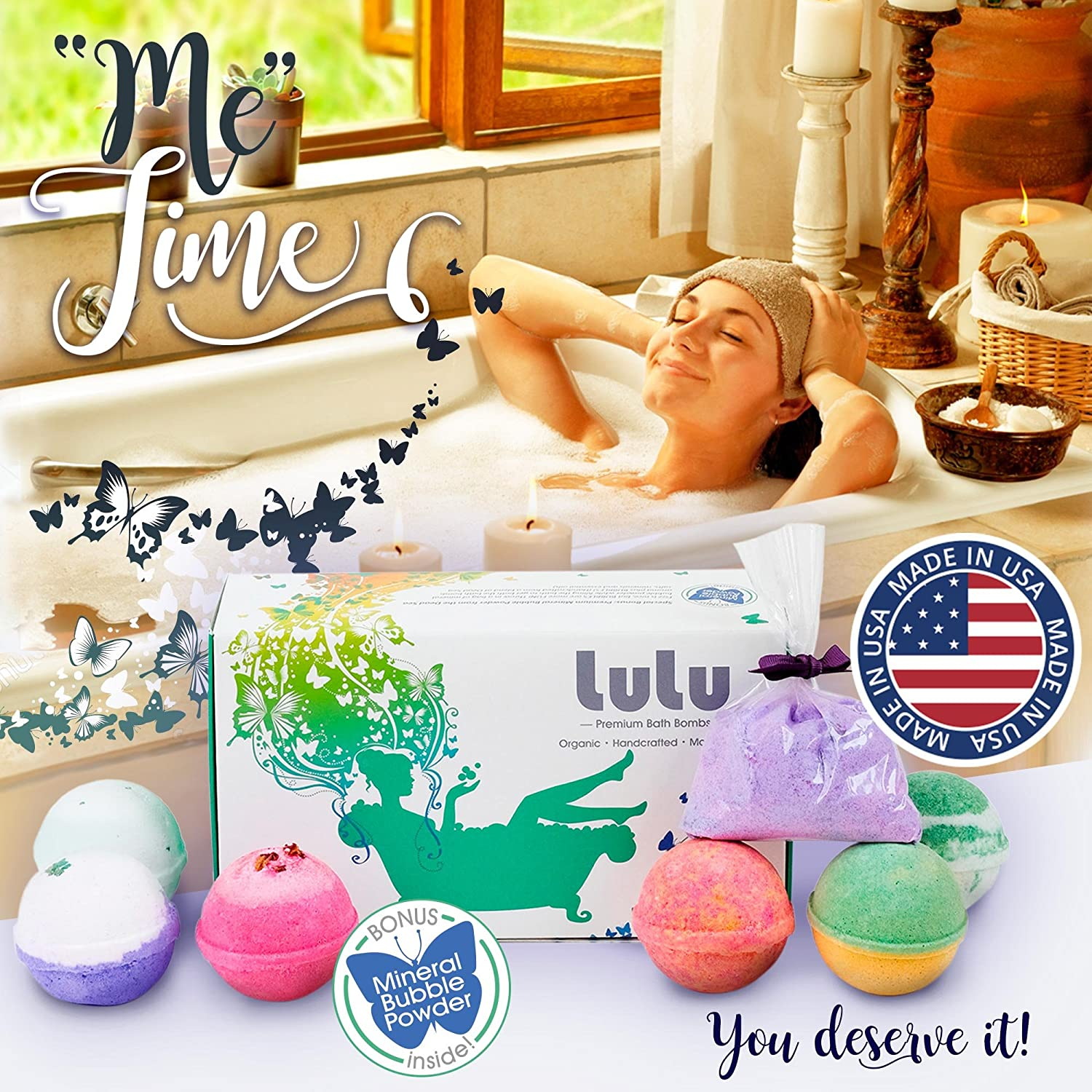 In the bathroom while taking a shower or a well deserved bubble bath - Amazon Com Lulu Bath Bomb Gift Set Beauty Relaxation Stress Relief Soak For Tub Essential Oils Natural And Organic Ingredients Makes Perfect