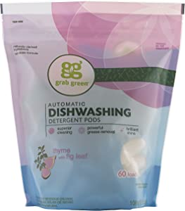 Grab Green Natural Dishwasher Detergent Pods, Thyme + Fig Leaf—With Essential Oils, 60 Loads, Organic Enzyme-Powered, Plant & Mineral-Based