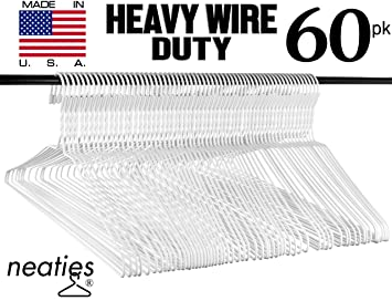 Amazon.com: Heavy Duty White Wire Clothes Hangers, USA Made Vinyl ...