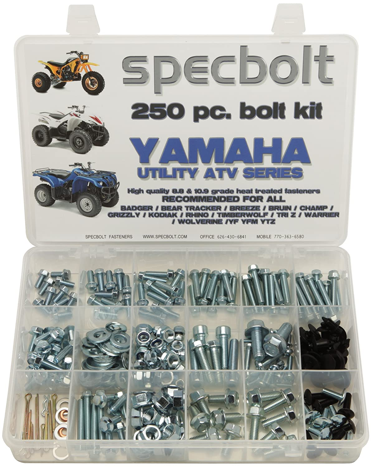 250pc Specbolt Bolt Kit For Yamaha Utility Atv Including All Grizzly Rhino 660 Fuel Filter Warrior Wolverine Big Bear Tracker Breeze Timberwolf Yfm Ytz Maintenance