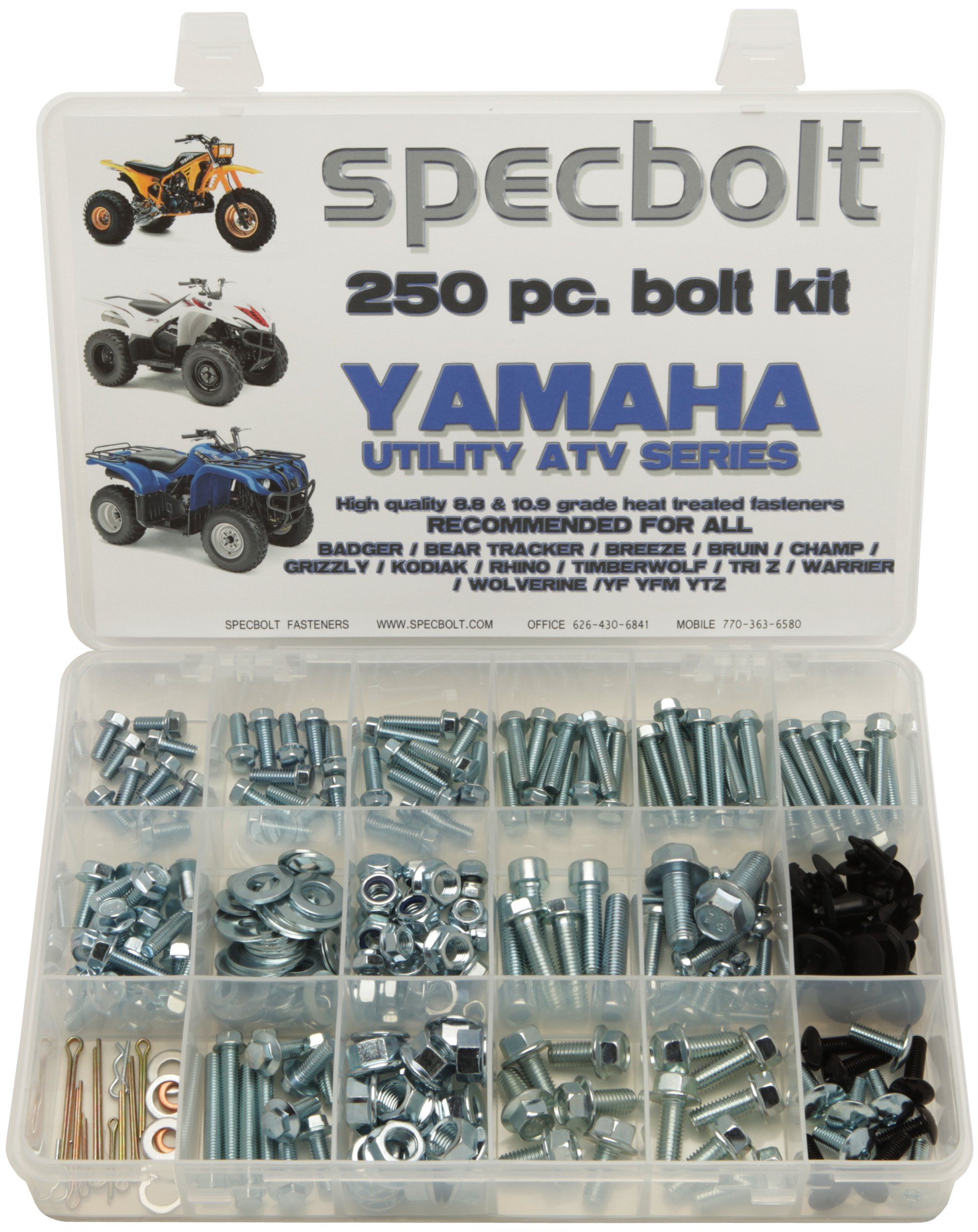 250pc Specbolt Bolt Kit for Yamaha UTILITY ATV including all Grizzly Warrior Wolverine Big Bear Tracker Breeze Timberwolf Rhino YFM YTZ for Maintenance & Restoration using OEM Spec Fasteners for Quads