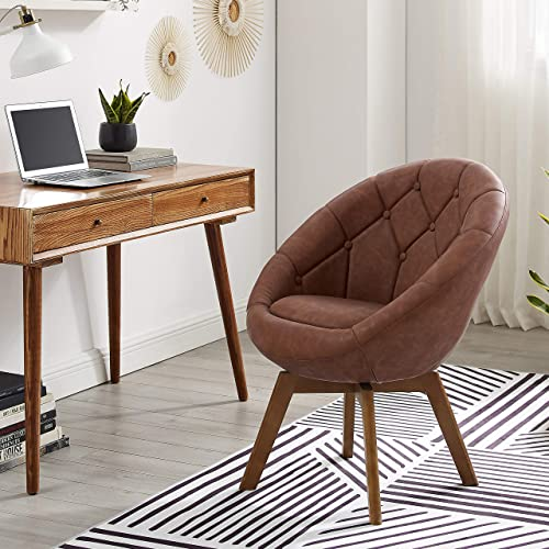 Volans Mid Century Modern Faux Leather Round Back Upholstered Swivel Accent Chair Cognac with Wood Legs Vanity Chair, Home Office Desk Chair for Living Room Bedroom Study