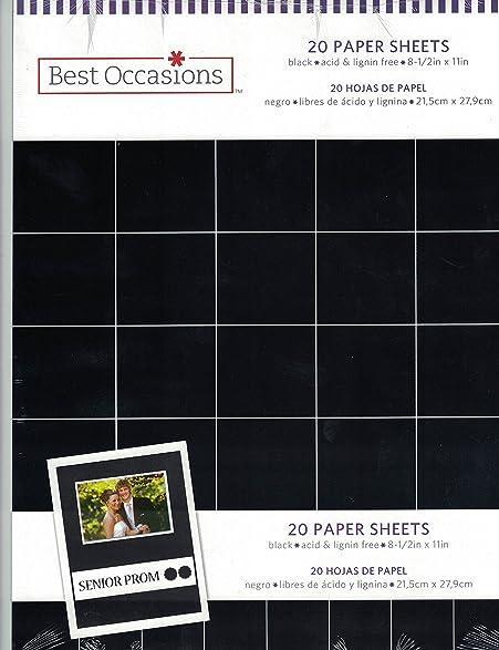 8.5x11 Basic Black Paper Pack 20 Sheets Cardstock Rubber Stampin 65# Lb.
