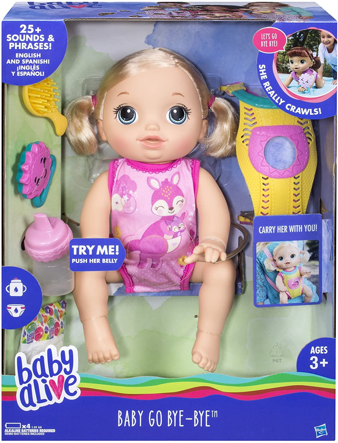 Blonde Hair Doll Baby Alive Baby Go Bye Bye Ages 3 and up