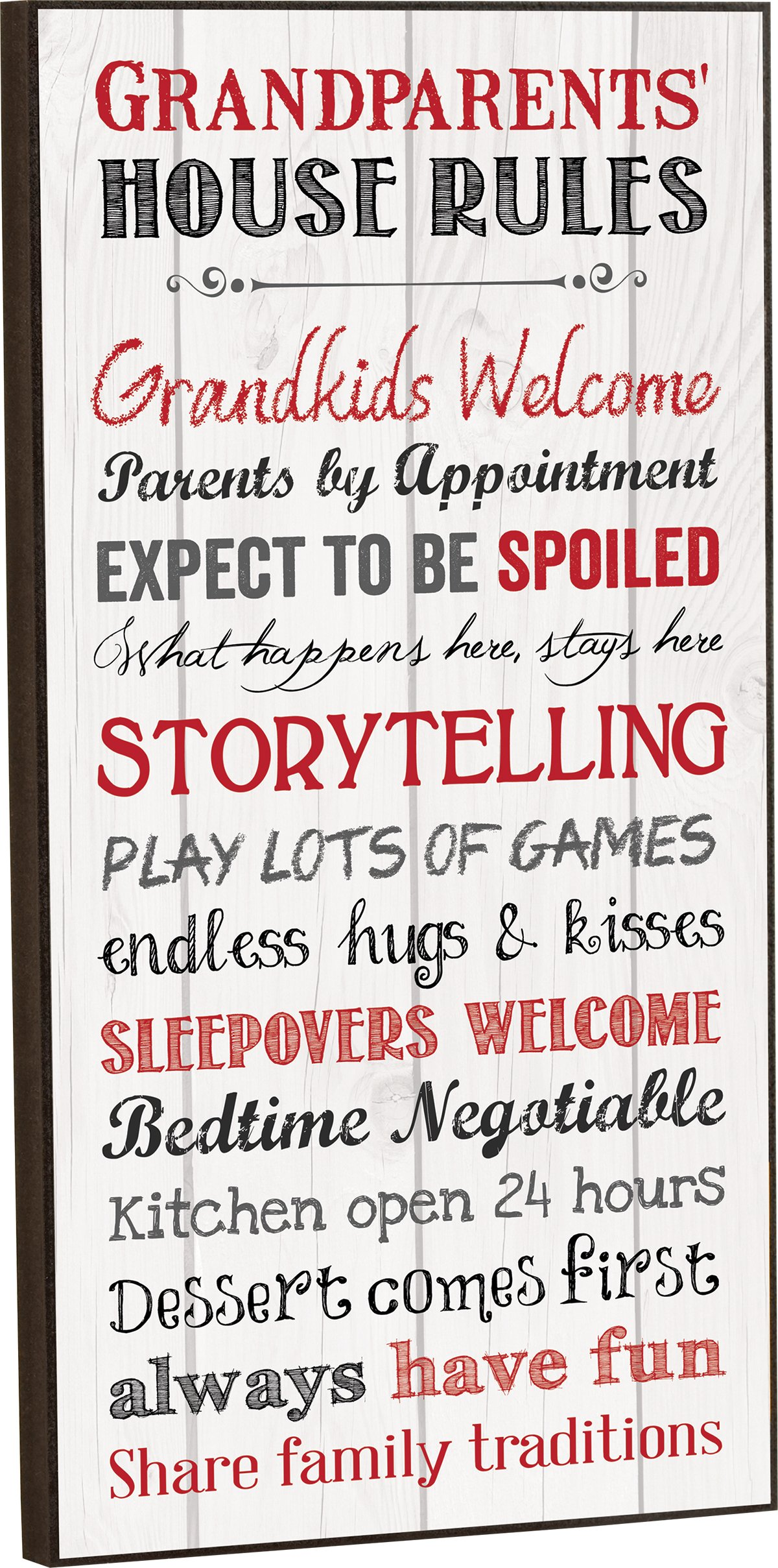 Grandparents House Rules Inspirational Wooden Decorative Wall Art Plaque