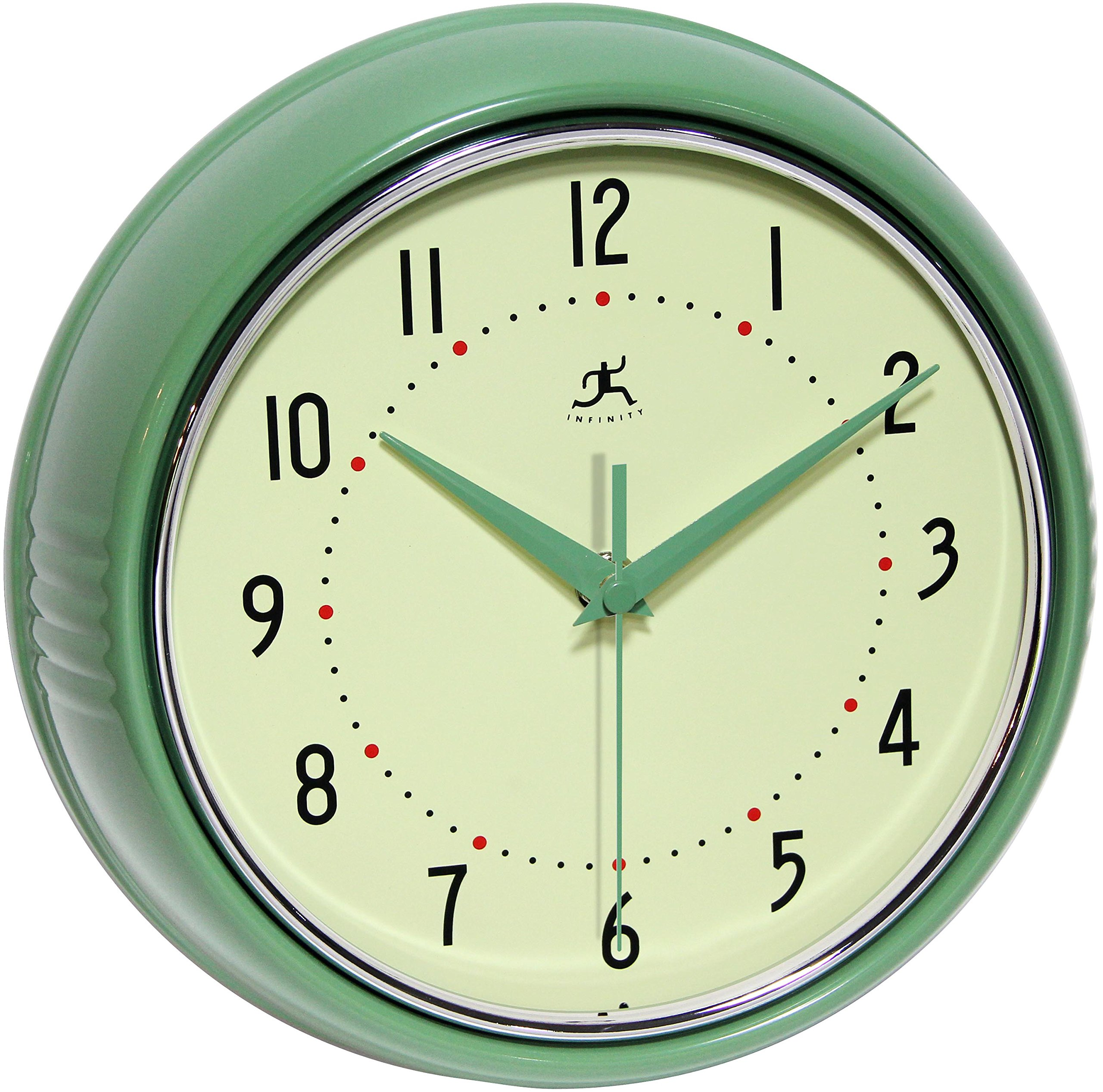 Infinity Instruments Round Green Retro Indoor Wall Clock by Infinity Instruments
