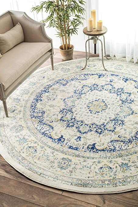 Amazon Com Nuloom Verona Vintage Persian Round Rug 4 Blue