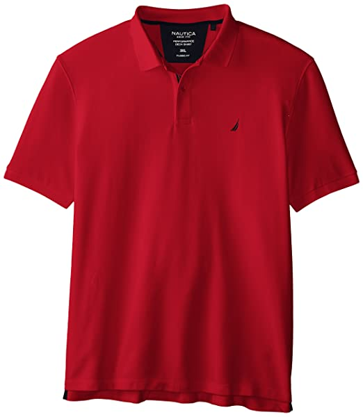 Nautica Mens Short Sleeve Solid Deck Polo, Nautica Red, XXX-Large ...