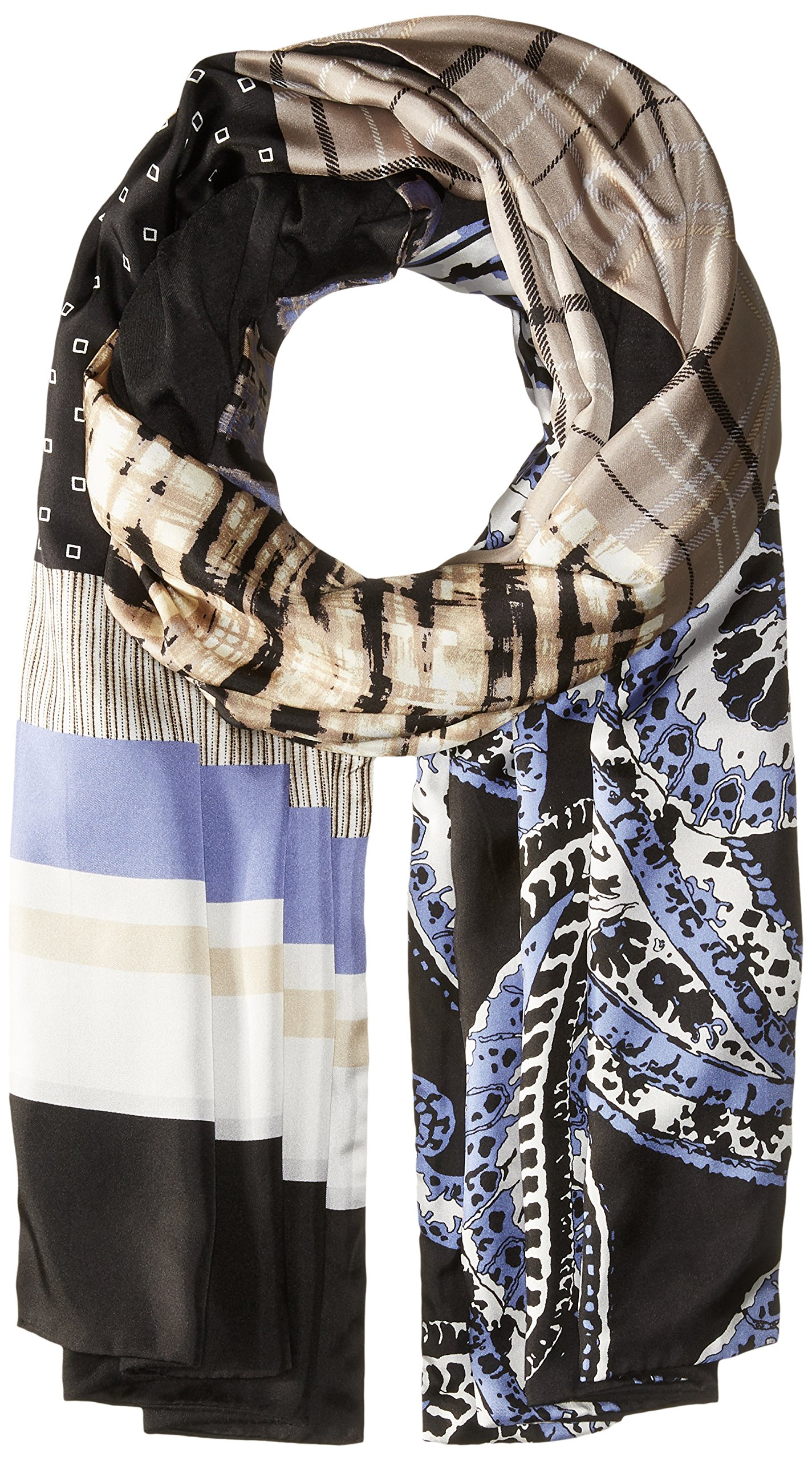 Bcbgmaxazria Women's Patchwork Wrap, Black, One Size by BCBGMAXAZRIA