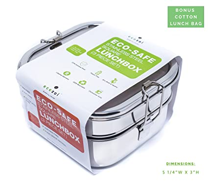 Amazon.com - Ecozoi Stainless Steel 3-in-1 SQUARE Eco Lunch Box for ...