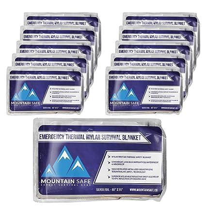 Emergency Space Blankets (10 Pack) Mylar Foil Thermal Waterproof Blanket |  Expert Bug Out Gear | NASA Inspired Emergency Survival Sheets