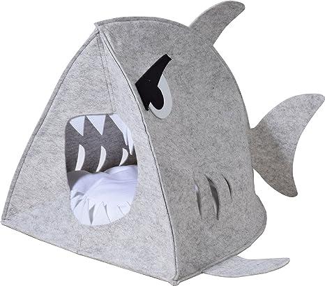 dobar &apos 60172 Acogedor de Fieltro Cueva Tiburón para Gatos y Perros con cojín, Exclusivo