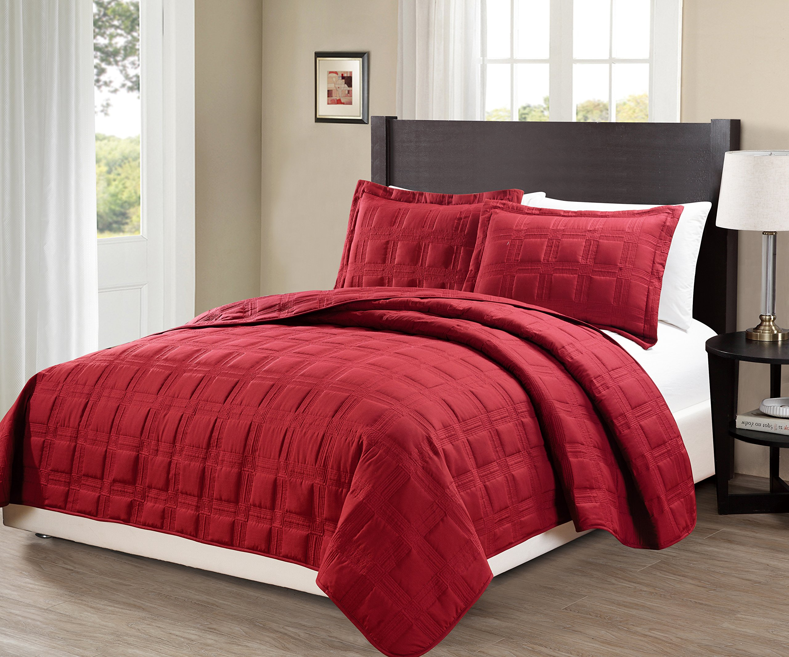 MK Home Mk Collection King/California king over size 118''x106'' 3 pc Target Bedspread Bed-cover Quilted Embroidery solid Red New