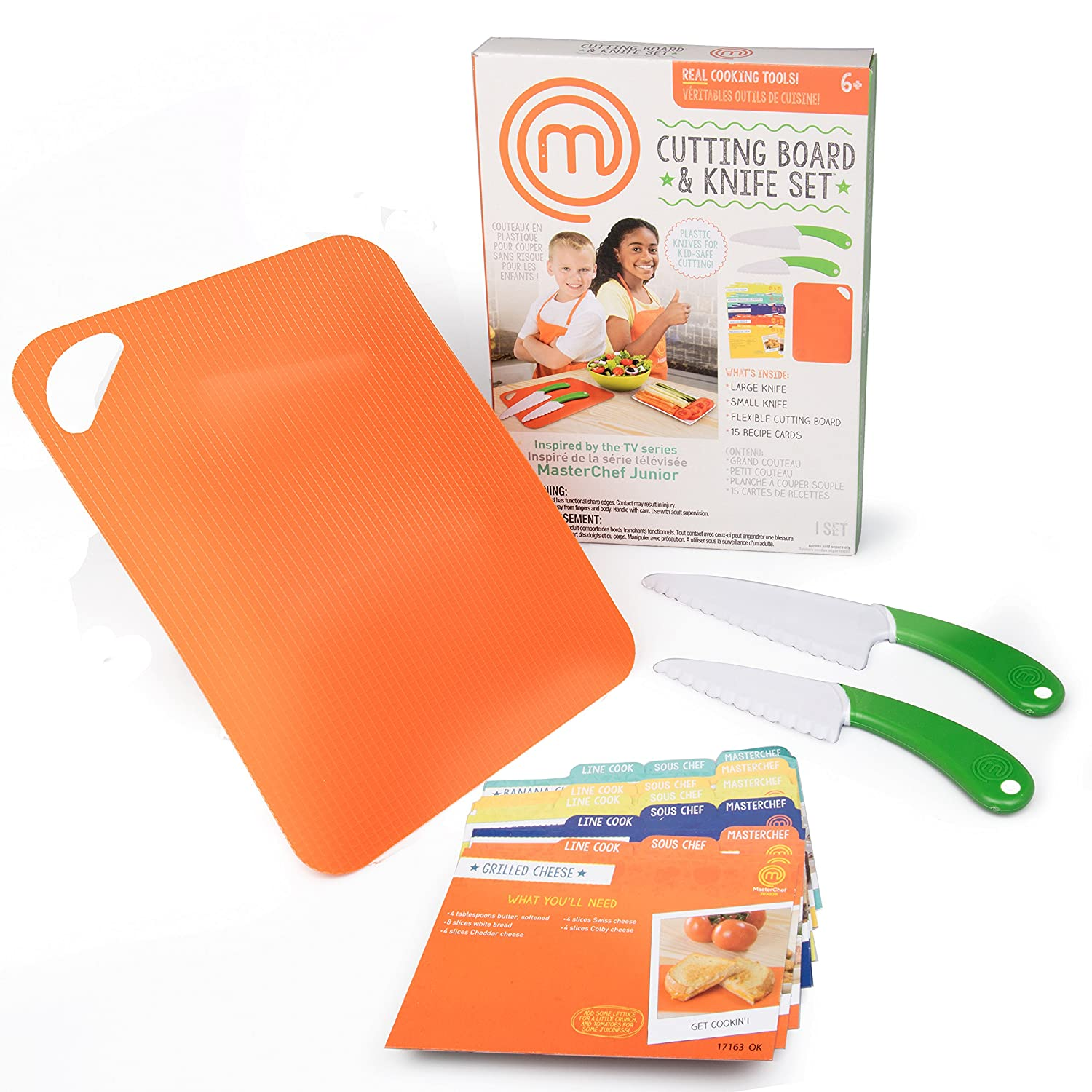 MasterChef Junior Knife and Cutting Board Set - Includes Real Cutting Tools for Kids and 15 Recipes