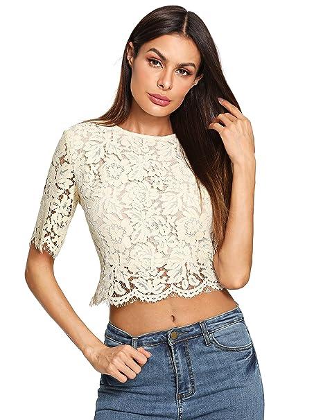 e369b740a9f MakeMeChic Women s Short Sleeve Sexy Sheer Blouse Mesh Lace Crop Top Beige M