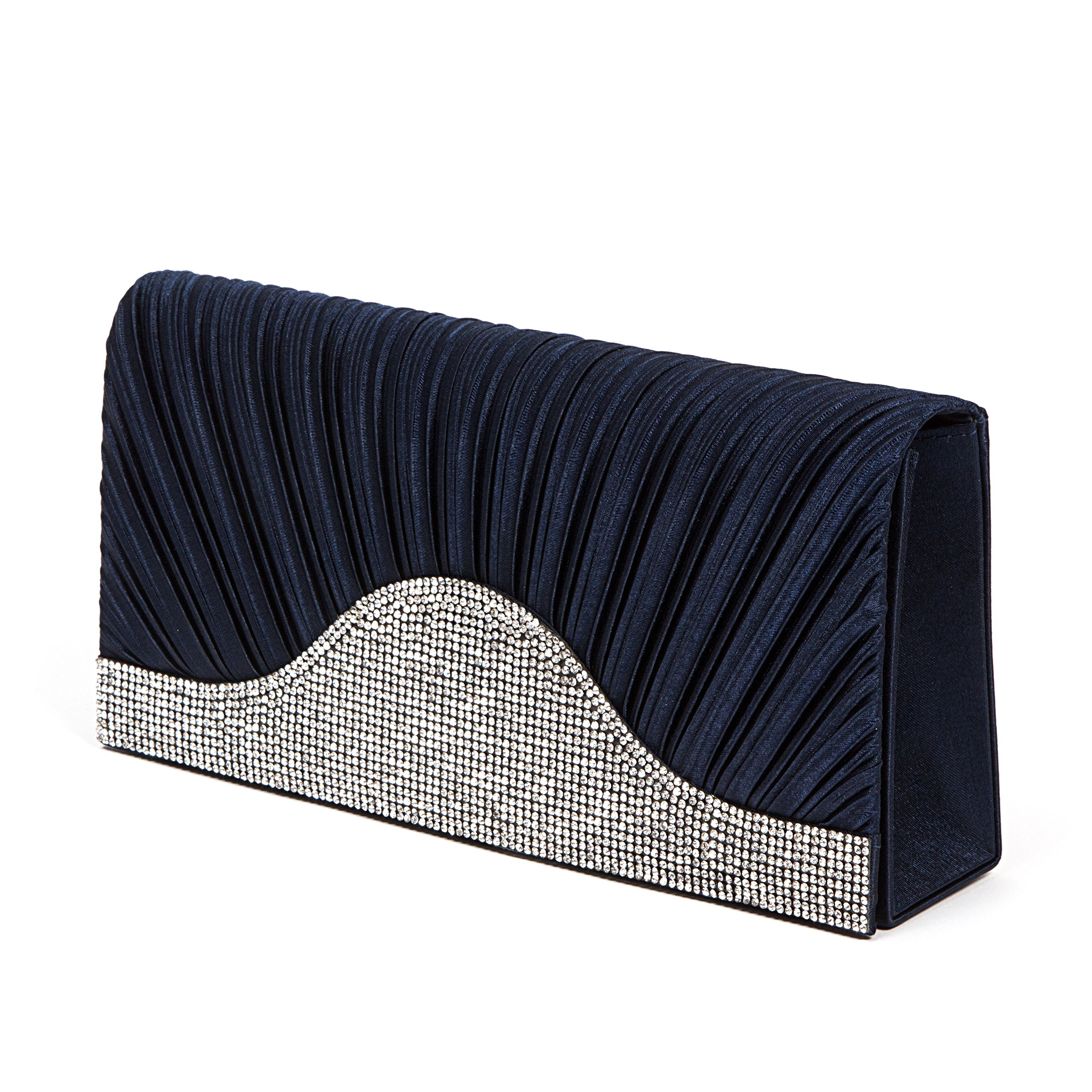 Lady Couture Embellished Flap Dressy Bag by, GITA Bag Navy by Lady Couture