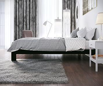 amazoncom stella metal platform bed frame modern finish thick and wide slats black kitchen dining