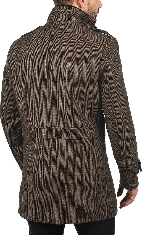 INDICODE Brandan Mens Woll Coat Outdoor Jacket With Funnel Neck