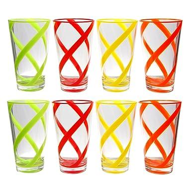 QG Set of 8 Break-resistant 22 oz Helix Stripes Iced Tea Cup w/Heavy Base Acrylic Plastic Tumbler Set in 4 Assorted Colors 3L132-4C