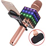 Wireless Bluetooth Karaoke Microphone - Portable KTV Karaoke Machine with Speaker, LED Lights & FREE Phone Holder Perfect for Pop, Rock n' Roll Parties, Solo Parties & More (H8 2.0 Rose Gold)