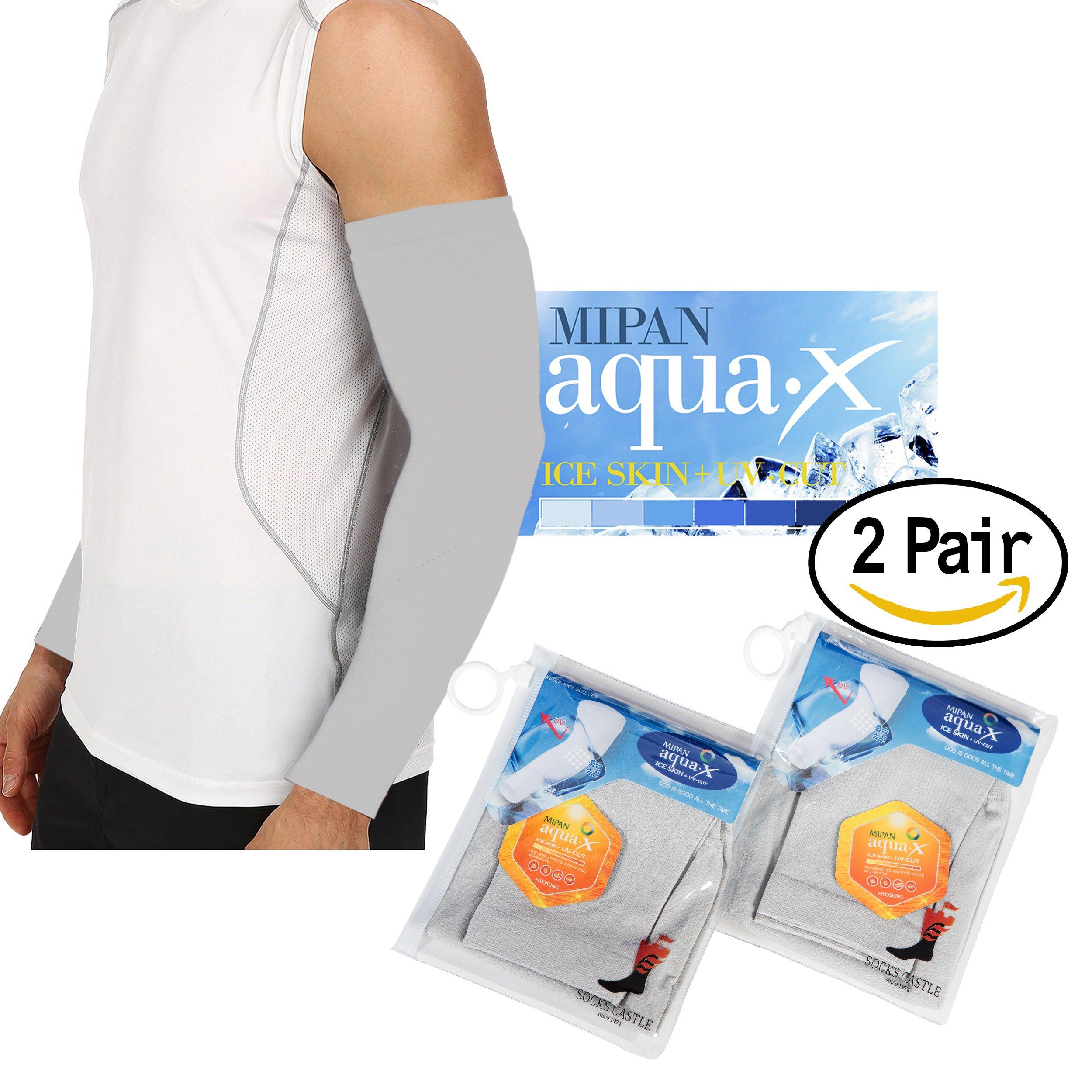 Aqua X ARM Sleeves for Men and Women Sun Protective Skin UV Cut Flexible & Durable (Grey 2 Pairs)
