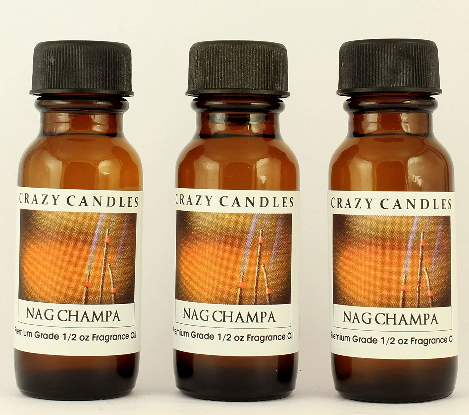 Crazy Candles Nag Champa 3 Bottles 1/2 Fl Oz Each (15ml) Premium Grade Scented Fragrance Oil (Patchouli, Forest, Lush Incense of India)