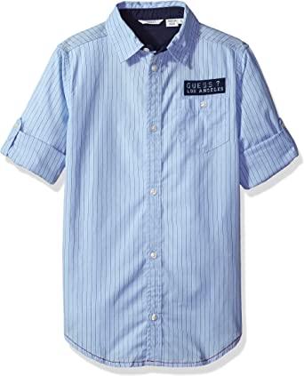 Guess L73H03W8N50 Camisa, Blanco (Blue & White Stripe), 170 ...
