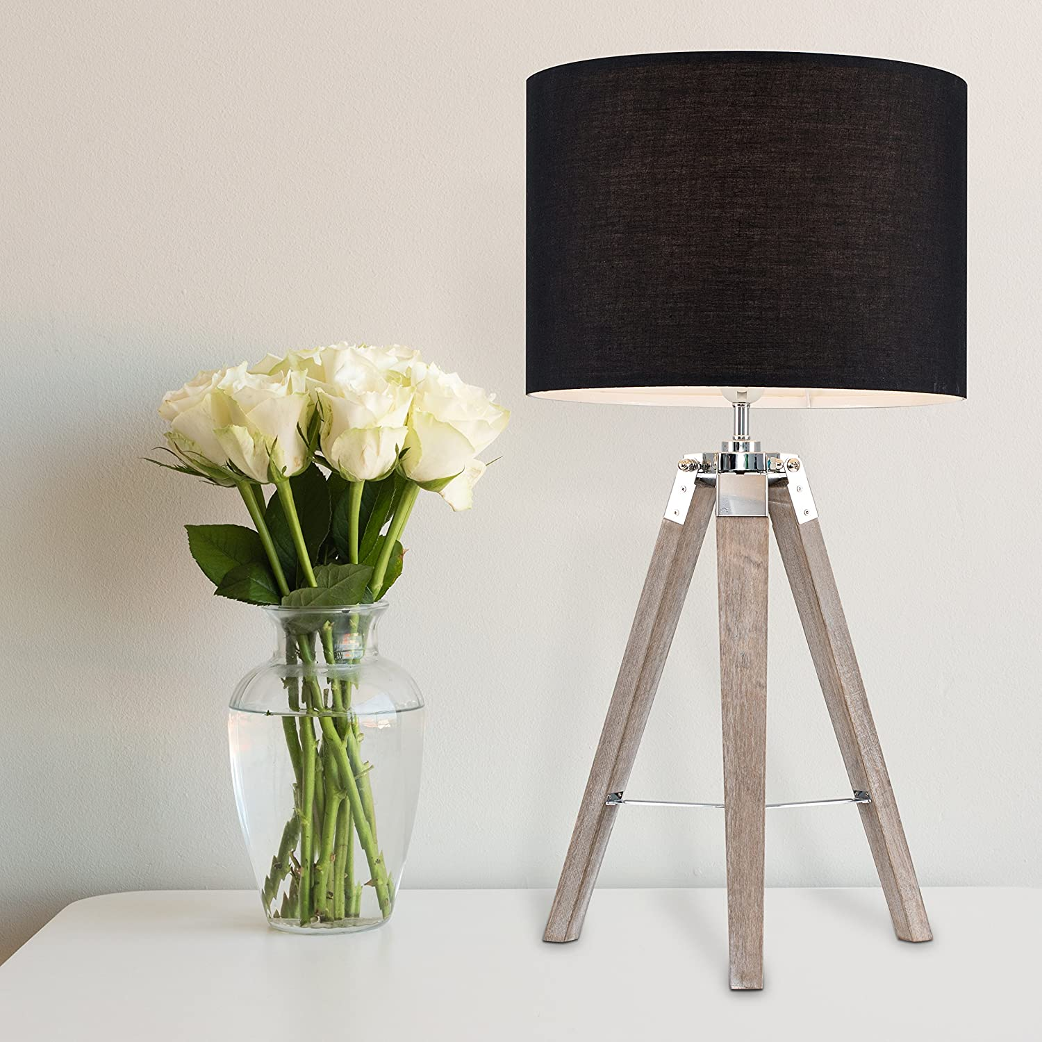Complete with a 6w LED GLS Bulb 3000K Warm White Modern Distressed Wood and Silver Chrome Tripod Table Lamp with a Grey Cylinder Light Shade