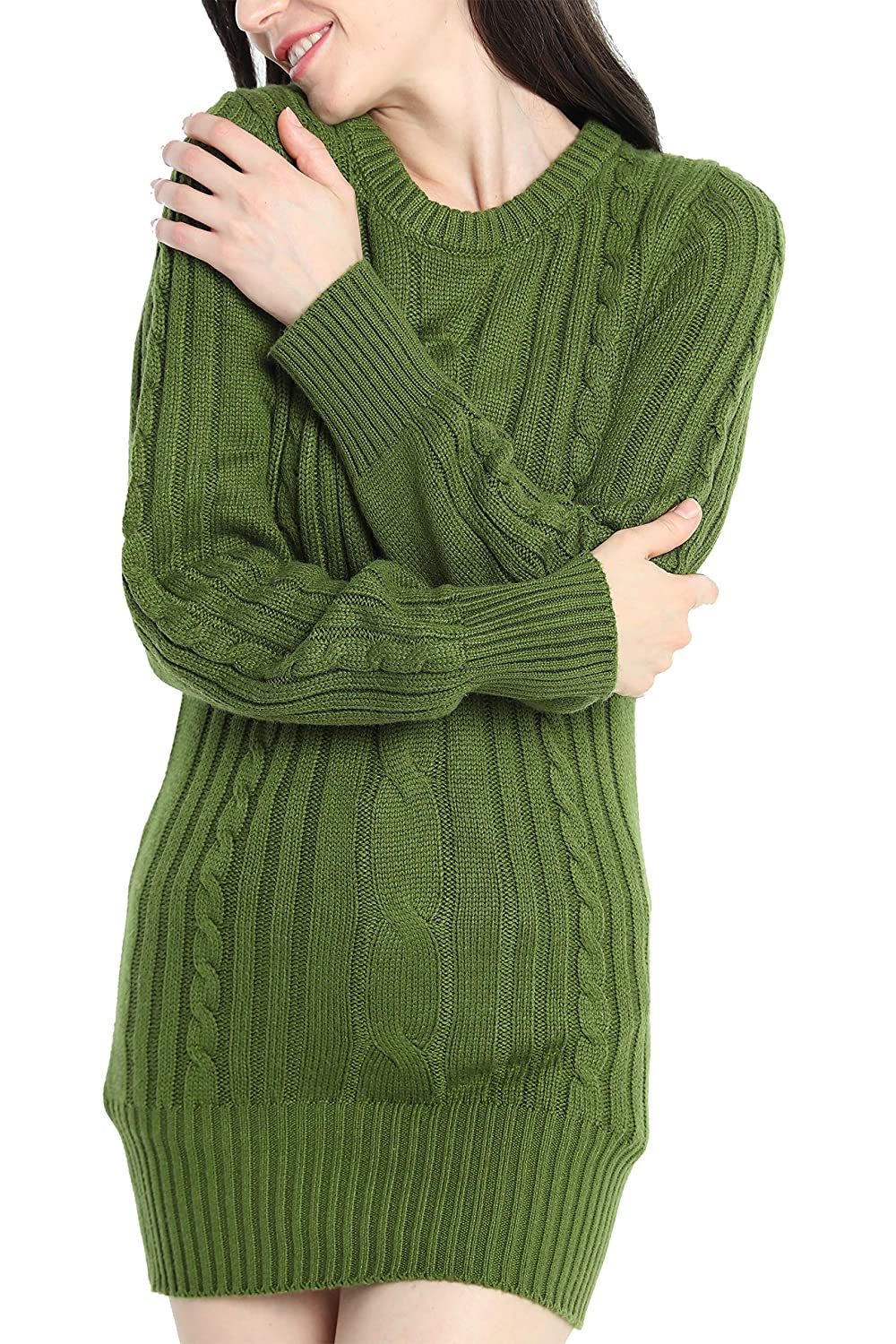 84320862acd8f Liny Xin Women's Cashmere Knitted Crewneck Long Sleeve Winter Wool Pullover  Long Sweater Dresses Tops at Amazon Women's Clothing store: