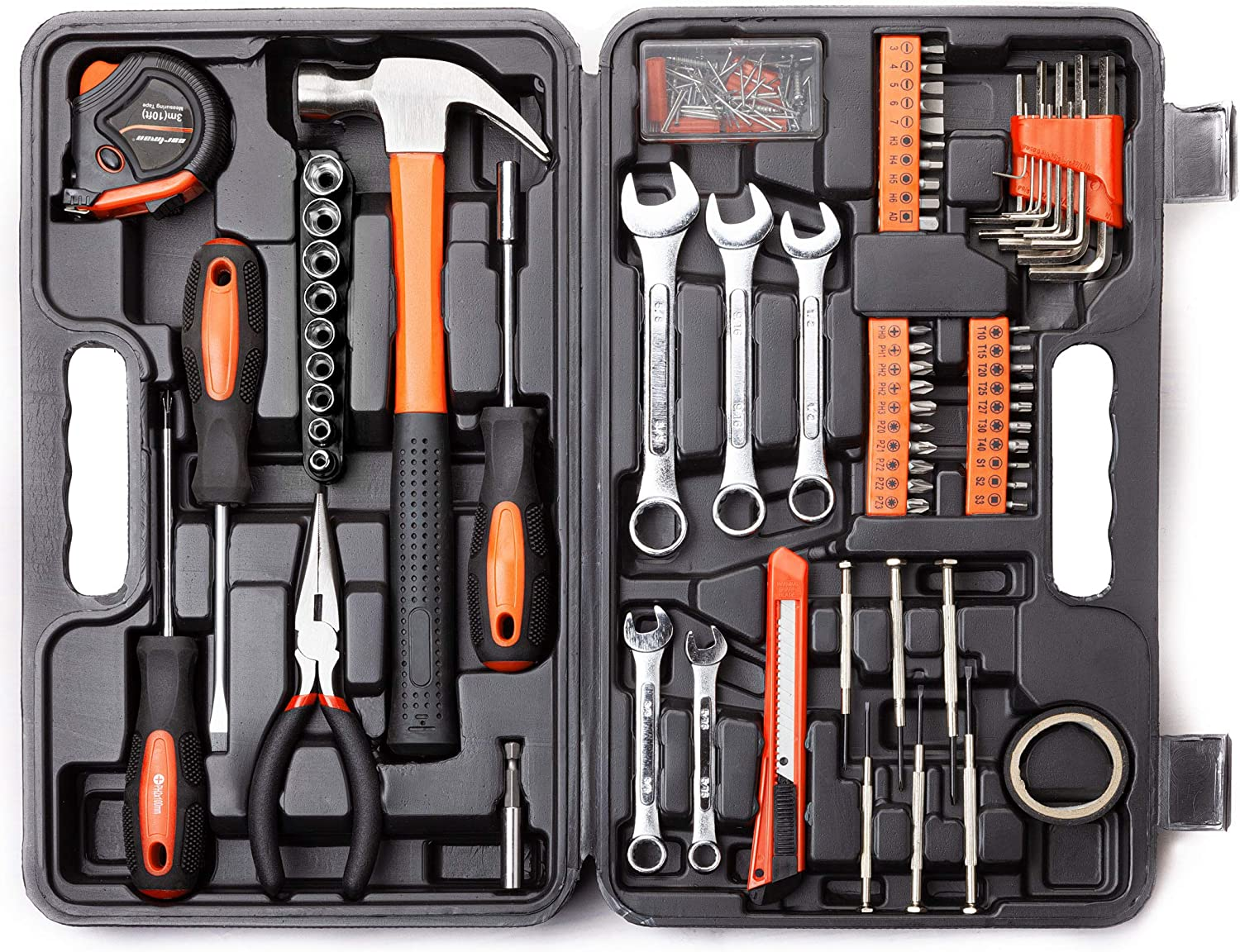 CARTMAN 148-Piece Tool Set - General Household Hand Tool Kit with Plastic Toolbox Storage Case,Orange