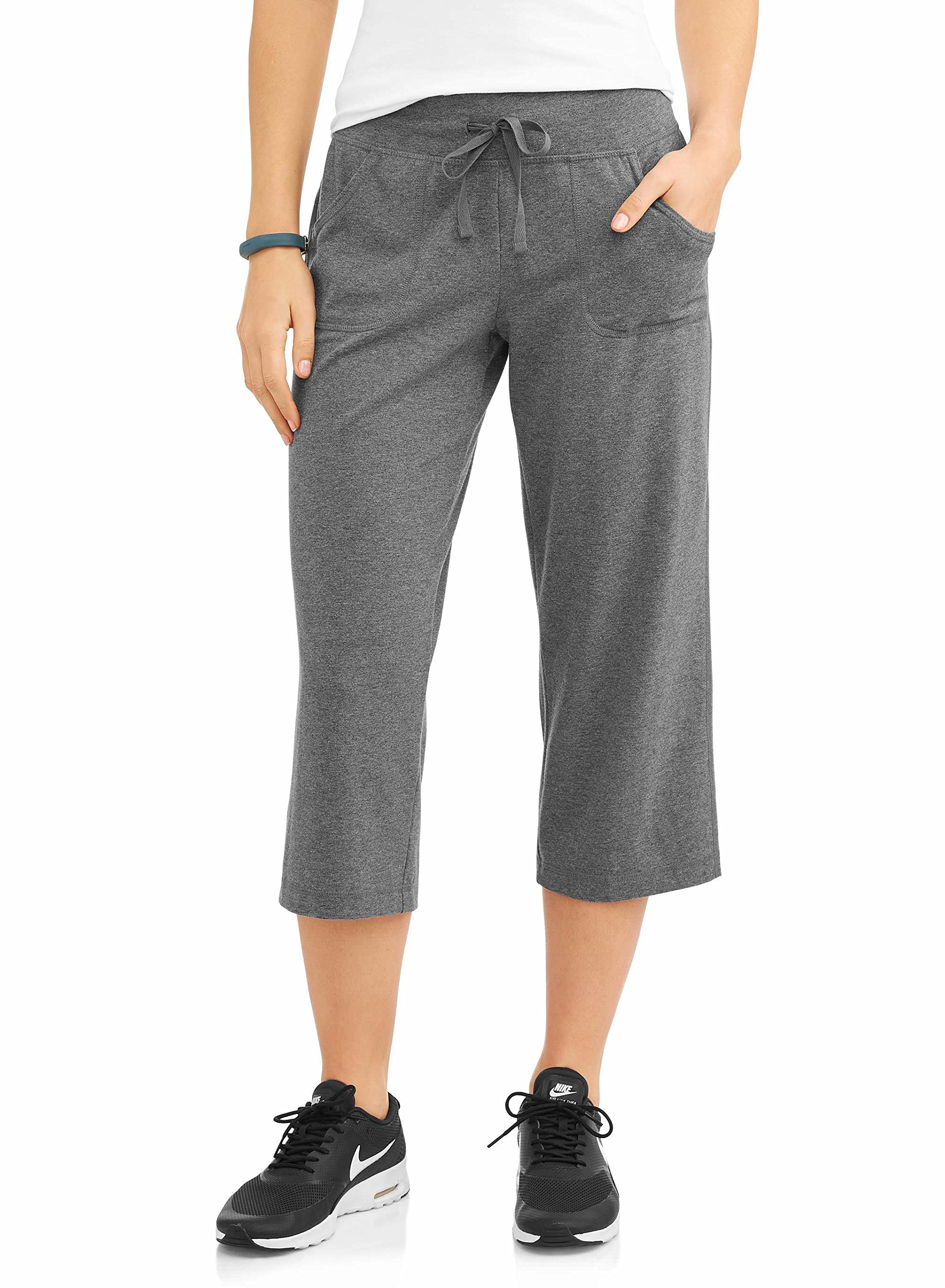 Athletic Works Women's Active Core Knit Capri Drawstring Pant w/Pockets (XXL, Charcoal)
