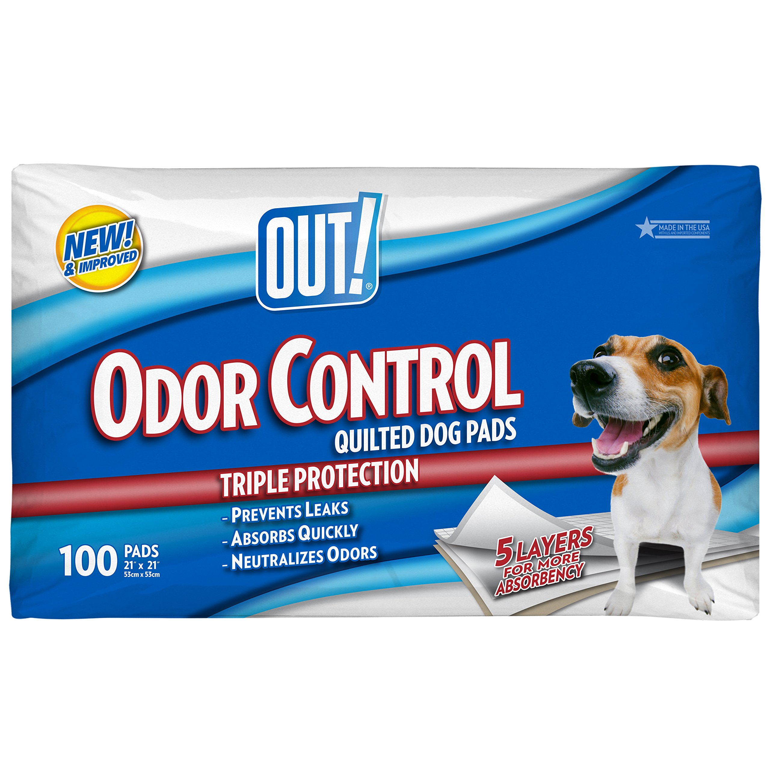 OUT! 5 Layer Odor Control Quilted Dog Pads, 21 x 21 inches, Multiple Counts
