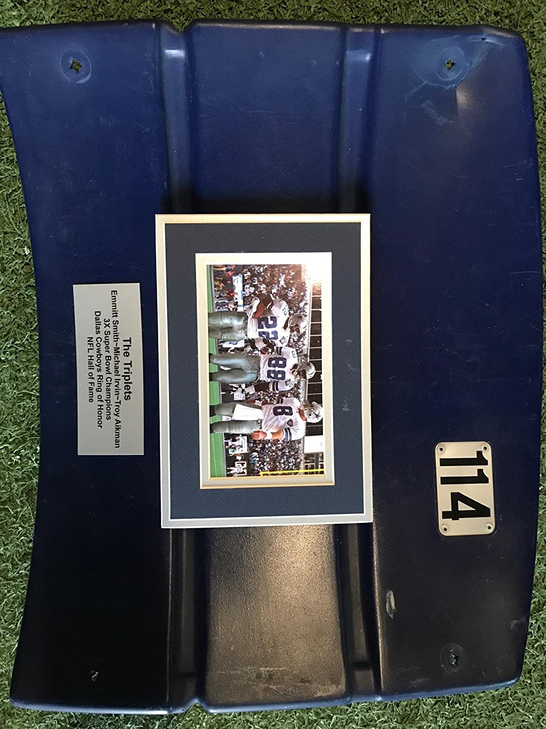 Dallas Cowboys Texas Stadium Custom Triplets Troy Aikman Emmitt Smith Michael Irvin Seat Back Game Used With Customizable Seat Number Plates, Perfect for Autographs, COA