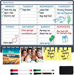 "NoteTower Magnetic Dry Erase Refrigerator Weekly Planner, Combo Week Calendar White Board & Paper Holder, Organizes The Family & Unclutters Fridge Papers, Includes 4 Markers & Eraser, 12"" x 17"""