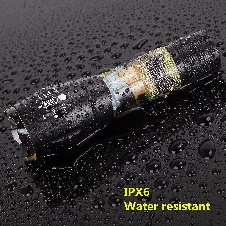 2 St/ück Readaeer Super Bright CREE T6 LED nicht im Produkt enthalten Blau Taschenlampe mit Batterie Zoombar IPX6 Spritzwassergesch/ützt Handlampe f/ür Outdoor Camping Sports MEHRWEG
