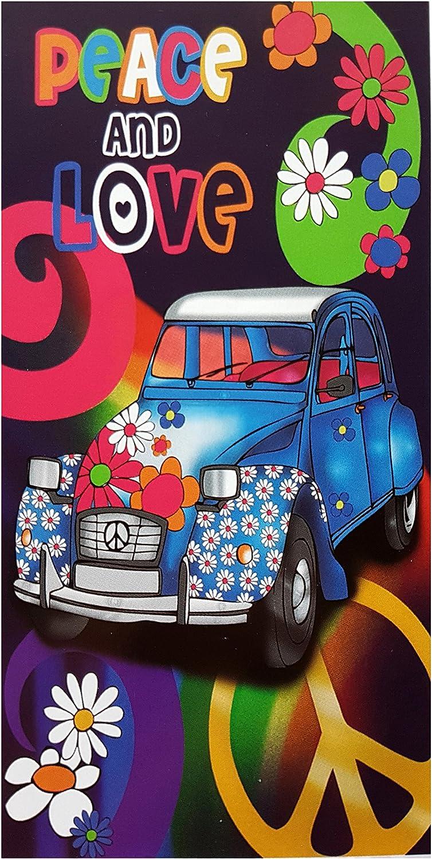 100/% Baumwolle Peace and Love XXL-Gr/ö/ße 170 x 90 cm Strandtuch Handtuch Flower Power Badetuch Aktionspreis Auto NEU